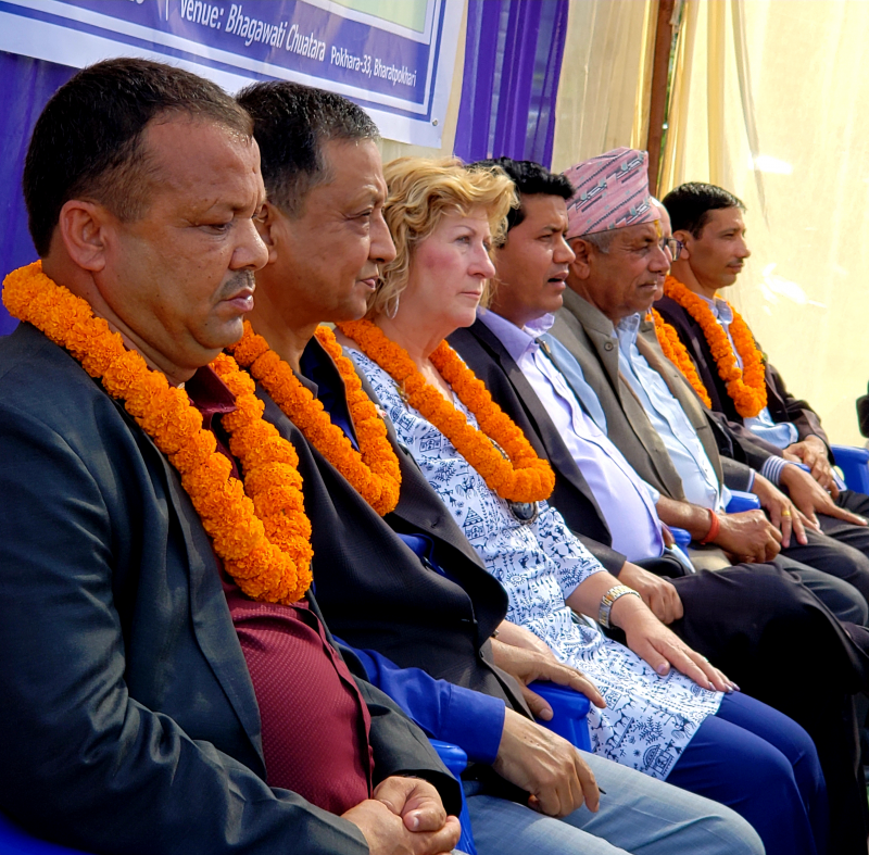 From the left, the local mayor, DGE Kiran Lal Srestha, NTN President-Elect Lisa Hickey and Minister of Tourism/Civil Aviation