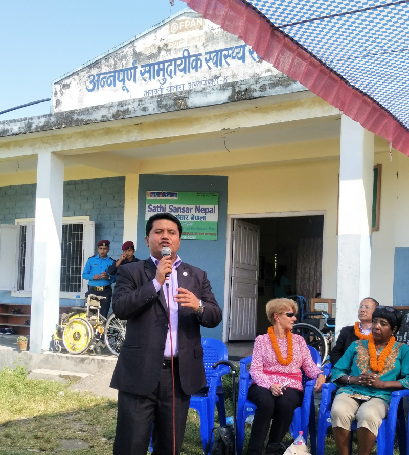 The Minister of Tourism and Civil Aviation, a native of the village, at Bharatpokhari